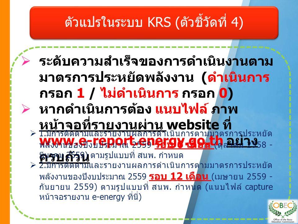  ระดับความสำเร็จของการดำเนินงานตาม มาตรการประหยัดพลังงาน ( ดำเนินการ กรอก 1 / ไม่ดำเนินการ กรอก 0)  หากดำเนินการต้อง แนบไฟล์ ภาพ หน้าจอที่รายงานผ่าน website ที่ www.e-report.energy.go.th อย่าง ครบถ้วน  1.มีการติดตามและรายงานผลการดำเนินการตามมาตรการประหยัด พลังงานของปีงบประมาณ 2559 รอบ 6 เดือน (ตุลาคม 2558 - มีนาคม 2559) ตามรูปแบบที่ สนพ.