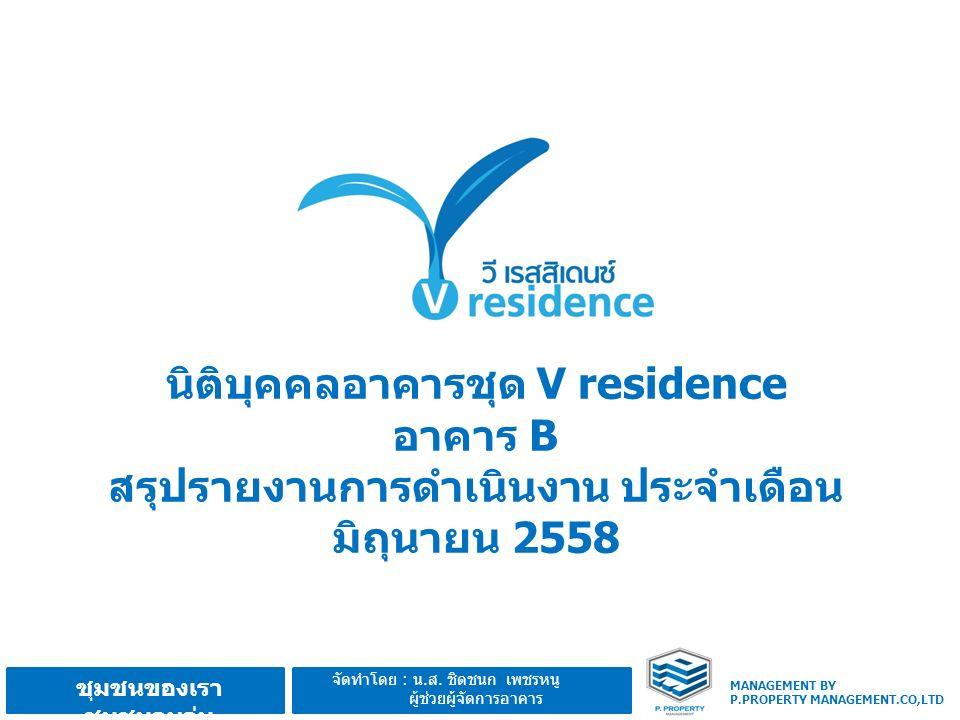 MANAGEMENT BY P.PROPERTY MANAGEMENT.CO,LTD ชุมชนของเรา ชุมชนอบอุ่น จัดทำโดย : น.ส. ชิดชนก เพชรหนู ผู้ช่วยผู้จัดการอาคาร นิติบุคคลอาคารชุด V residence