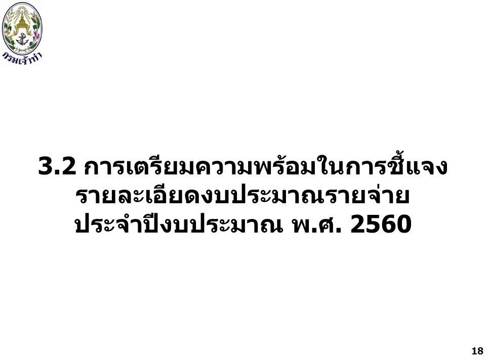 3.2 การเตรียมความพร้อมในการชี้แจง รายละเอียดงบประมาณรายจ่าย ประจำปีงบประมาณ พ. ศ. 2560 18