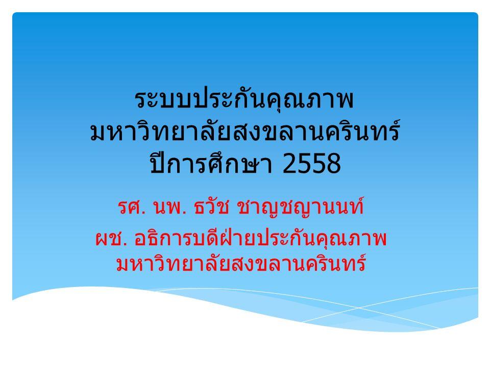 ระบบประกันคุณภาพ มหาวิทยาลัยสงขลานครินทร์ ปีการศึกษา 2558 รศ.