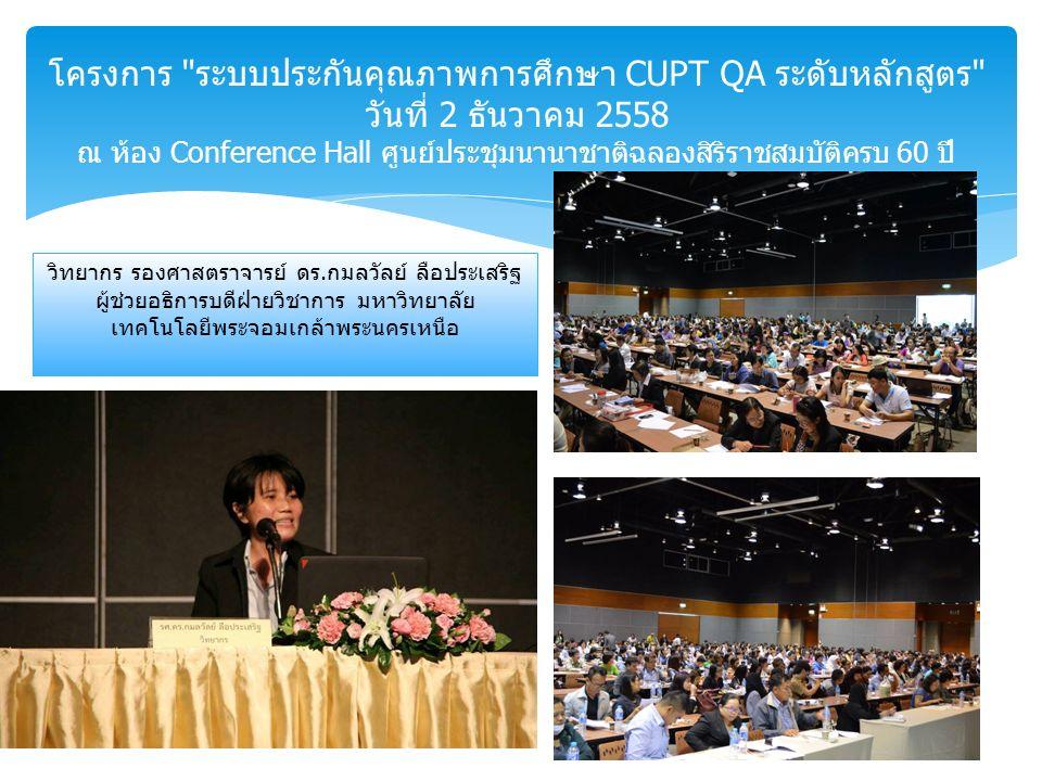 โครงการ ระบบประกันคุณภาพการศึกษา CUPT QA ระดับหลักสูตร วันที่ 2 ธันวาคม 2558 ณ ห้อง Conference Hall ศูนย์ประชุมนานาชาติฉลองสิริราชสมบัติครบ 60 ปี วิทยากร รองศาสตราจารย์ ดร.กมลวัลย์ ลือประเสริฐ ผู้ช่วยอธิการบดีฝ่ายวิชาการ มหาวิทยาลัย เทคโนโลยีพระจอมเกล้าพระนครเหนือ