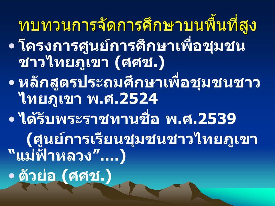 ทบทวนการจัดการศึกษาบนพื้นที่สูง โครงการศูนย์การศึกษาเพื่อชุมชน ชาวไทยภูเขา ( ศศช.) หลักสูตรประถมศึกษาเพื่อชุมชนชาว ไทยภูเขา พ. ศ.2524 ได้รับพระราชทานช