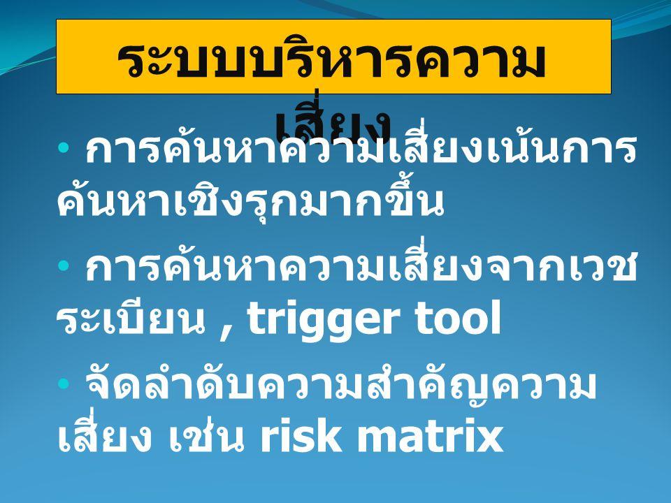 ระบบบริหารความ เสี่ยง การค้นหาความเสี่ยงเน้นการ ค้นหาเชิงรุกมากขึ้น การค้นหาความเสี่ยงจากเวช ระเบียน, trigger tool จัดลำดับความสำคัญความ เสี่ยง เช่น risk matrix