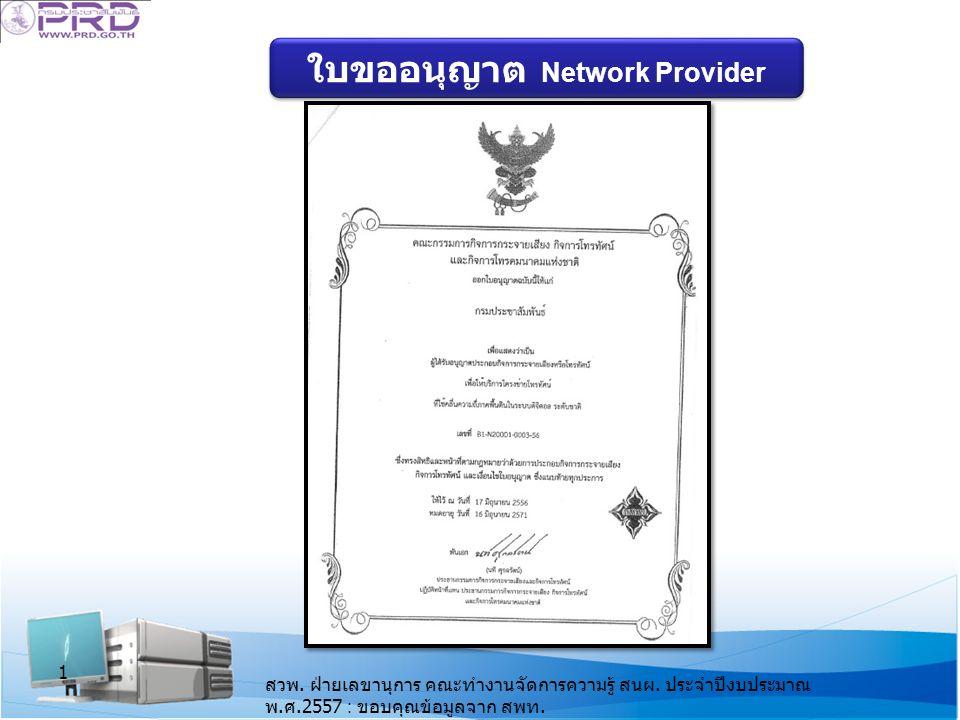 ใบขออนุญาต Network Provider 1 สวพ.ฝ่ายเลขานุการ คณะทำงานจัดการความรู้ สนผ.