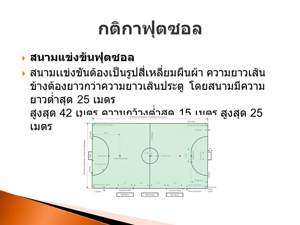  สนามแข่งขันฟุตซอล  สนามเเข่งขันต้องเป็นรูปสี่เหลี่ยมผืนผ้า ความยาวเส้น ข้างต้องยาวกว่าความยาวเส้นประตู โดยสนามมีความ ยาวต่ำสุด 25 เมตร สูงสุด 42 เมตร ความกว้างต่ำสุด 15 เมตร สูงสุด 25 เมตร
