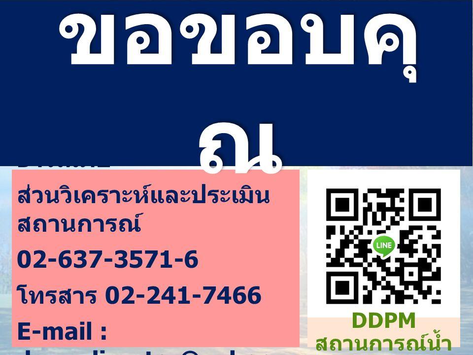 ศูนย์อำนวยการบรรเทาสา ธารณภัย ส่วนวิเคราะห์และประเมิน สถานการณ์ 02-637-3571-6 โทรสาร 02-241-7466 E-mail : dpm_disaster@yahoo.c om ขอขอบคุ ณ DDPM สถานการณ์น้ำ