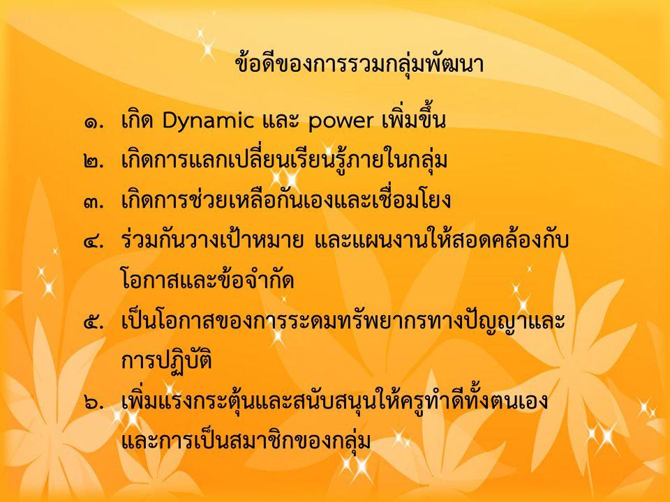 ข้อดีของการรวมกลุ่มพัฒนา 1. เกิด Dynamic และ power เพิ่มขึ้น 2.