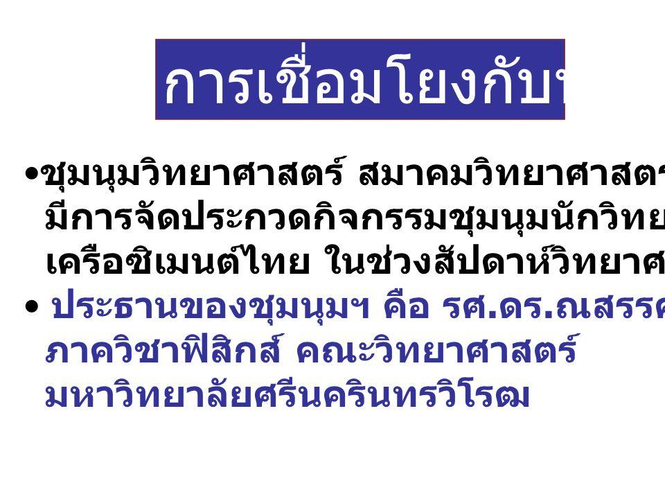 การเชื่อมโยงกับหน่วยงานอื่น ชุมนุมวิทยาศาสตร์ สมาคมวิทยาศาสตร์แห่งประเทศไทยฯ มีการจัดประกวดกิจกรรมชุมนุมนักวิทยาศาสตร์รุ่นเยาว์ เครือซิเมนต์ไทย ในช่วงสัปดาห์วิทยาศาสตร์แห่งชาติ ประธานของชุมนุมฯ คือ รศ.