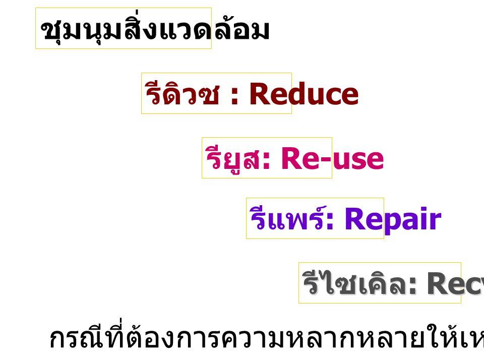 รีไซเคิล : Recycle รียูส : Re-use รีแพร์ : Repair รีดิวซ : Reduce ชุมนุมสิ่งแวดล้อม กรณีที่ต้องการความหลากหลายให้เหมาะสมกับจำนวนนักเรียน