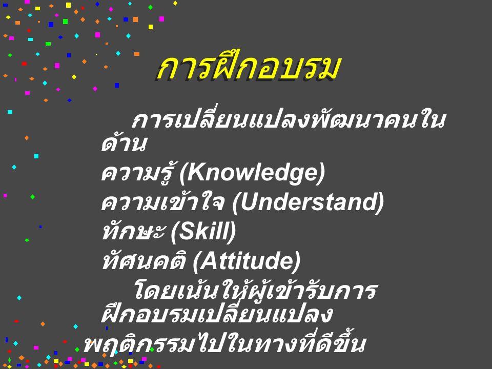 การฝึกอบรม การเปลี่ยนแปลงพัฒนาคนใน ด้าน ความรู้ (Knowledge) ความเข้าใจ (Understand) ทักษะ (Skill) ทัศนคติ (Attitude) โดยเน้นให้ผู้เข้ารับการ ฝึกอบรมเปลี่ยนแปลง พฤติกรรมไปในทางที่ดีขึ้น