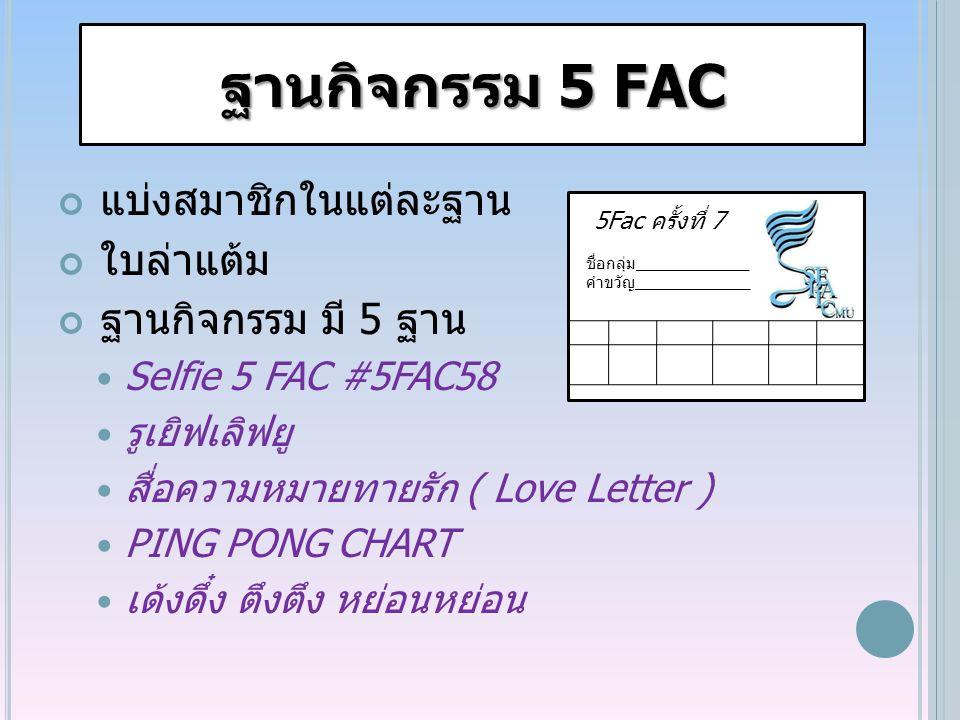 ฐานกิจกรรม 5 FAC แบ่งสมาชิกในแต่ละฐาน ใบล่าแต้ม ฐานกิจกรรม มี 5 ฐาน Selfie 5 FAC #5FAC58 รูเยิฟเลิฟยู สื่อความหมายทายรัก ( Love Letter ) PING PONG CHART เด้งดึ๋ง ตึงตึง หย่อนหย่อน 5Fac ครั้งทึ่ 7 ชื่อกลุ่ม_____________ คำขวัญ_____________