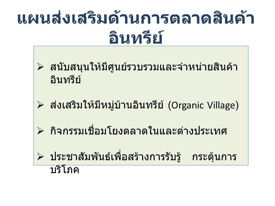 แผนส่งเสริมด้านการตลาดสินค้า อินทรีย์  สนับสนุนให้มีศูนย์รวบรวมและจำหน่ายสินค้า อินทรีย์  ส่งเสริมให้มีหมู่บ้านอินทรีย์ (Organic Village)  กิจกรรมเชื่อมโยงตลาดในและต่างประเทศ  ประชาสัมพันธ์เพื่อสร้างการรับรู้ กระตุ้นการ บริโภค