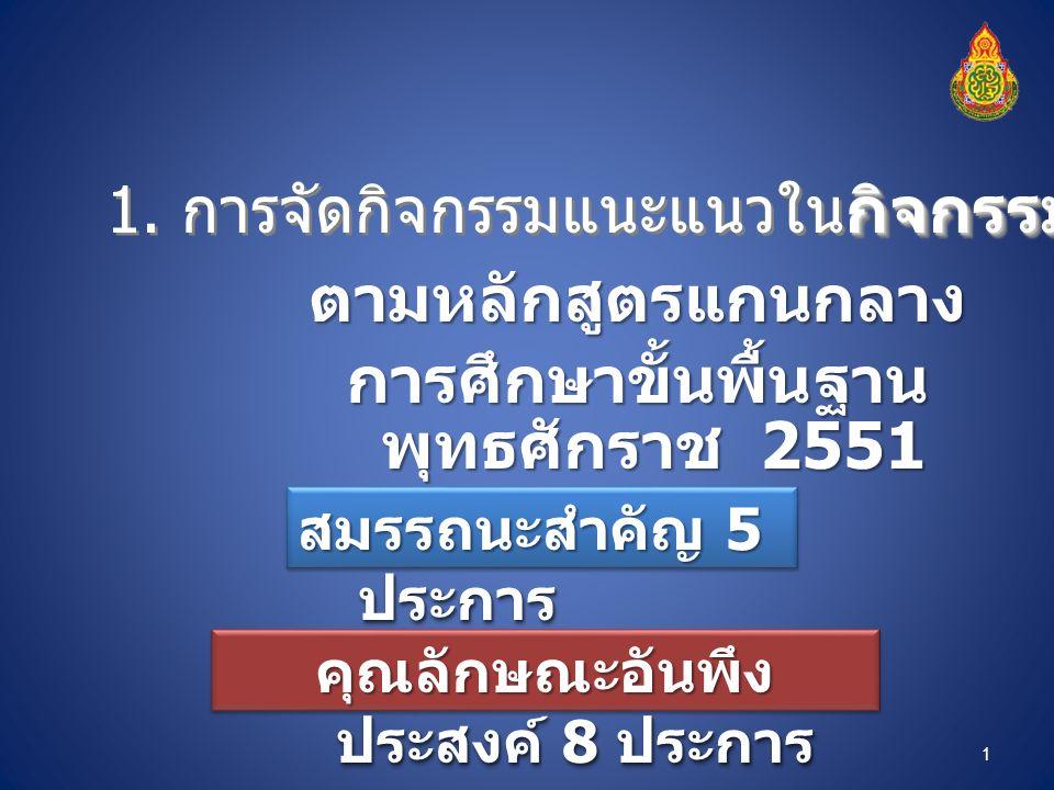 ตามหลักสูตรแกนกลาง การศึกษาขั้นพื้นฐาน พุทธศักราช 2551 กิจกรรมพัฒนาผู้เรียน 1.