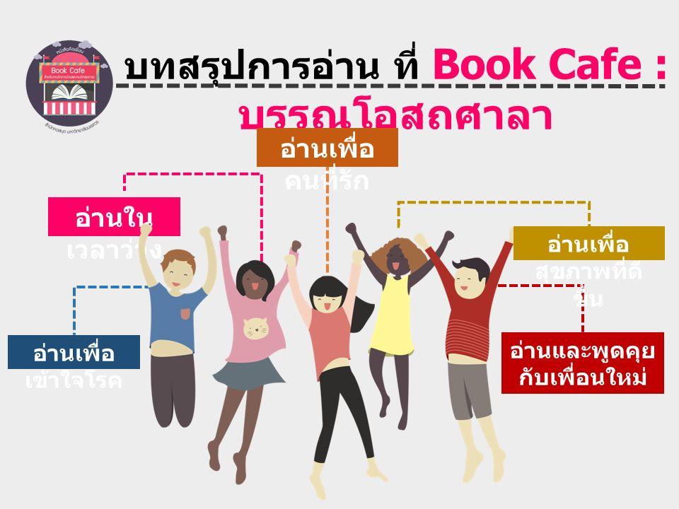 บทสรุปการอ่าน ที่ Book Cafe : บรรณโอสถศาลา อ่านเพื่อ เข้าใจโรค อ่านและพูดคุย กับเพื่อนใหม่ อ่านเพื่อ คนที่รัก อ่านใน เวลาว่าง อ่านเพื่อ สุขภาพที่ดี ขึ้น
