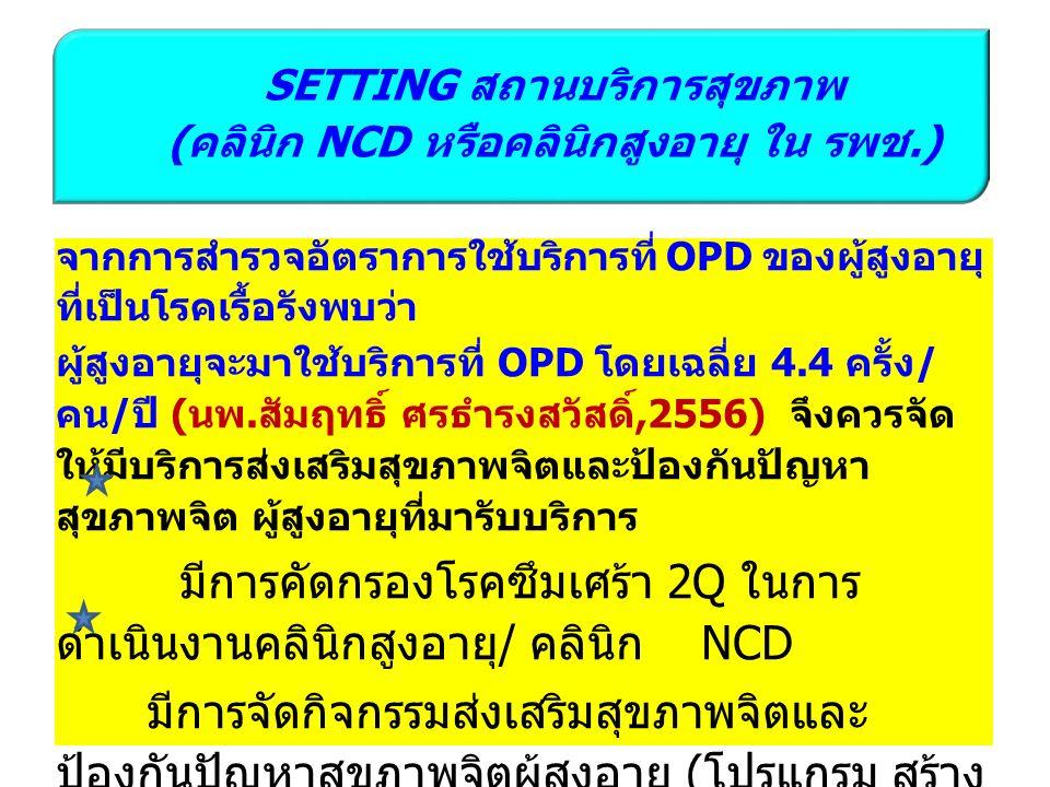 SETTING สถานบริการสุขภาพ ( คลินิก NCD หรือคลินิกสูงอายุ ใน รพช.) จากการสำรวจอัตราการใช้บริการที่ OPD ของผู้สูงอายุ ที่เป็นโรคเรื้อรังพบว่า ผู้สูงอายุจะมาใช้บริการที่ OPD โดยเฉลี่ย 4.4 ครั้ง / คน / ปี ( นพ.