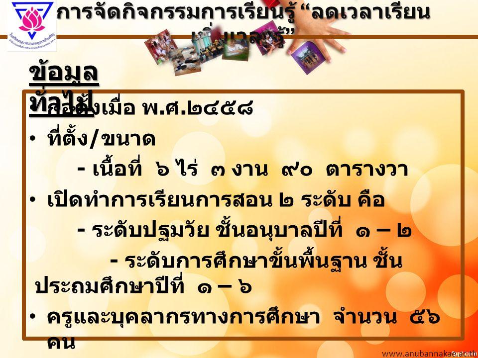 การจัดกิจกรรมการเรียนรู้ ลดเวลาเรียน เพิ่มเวลารู้ www.anubannakae.ac.th ก่อตั้งเมื่อ พ.