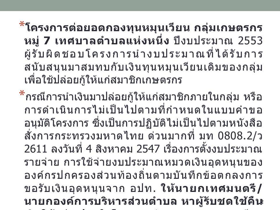 * โครงการต่อยอดกองทุนหมุนเวียน กลุ่มเกษตรกร หมู่ 7 เทศบาลตำบลแห่งหนึ่ง ปีงบประมาณ 2553 ผู้รับผิดชอบโครงการนำงบประมาณที่ได้รับการ สนับสนุนมาสมทบกับเงิน