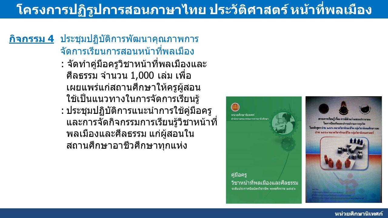 หน่วยศึกษานิเทศก์ โครงการปฏิรูปการสอนภาษาไทย ประวัติศาสตร์ หน้าที่พลเมือง กิจกรรม 4 ประชุมปฏิบัติการพัฒนาคุณภาพการ จัดการเรียนการสอนหน้าที่พลเมือง : จัดทำคู่มือครูวิชาหน้าที่พลเมืองและ ศีลธรรม จำนวน 1,000 เล่ม เพื่อ เผยแพร่แก่สถานศึกษาให้ครูผู้สอน ใช้เป็นแนวทางในการจัดการเรียนรู้ :ประชุมปฏิบัติการแนะนำการใช้คู่มือครู และการจัดกิจกรรมการเรียนรู้วิชาหน้าที่ พลเมืองและศีลธรรม แก่ผู้สอนใน สถานศึกษาอาชีวศึกษาทุกแห่ง