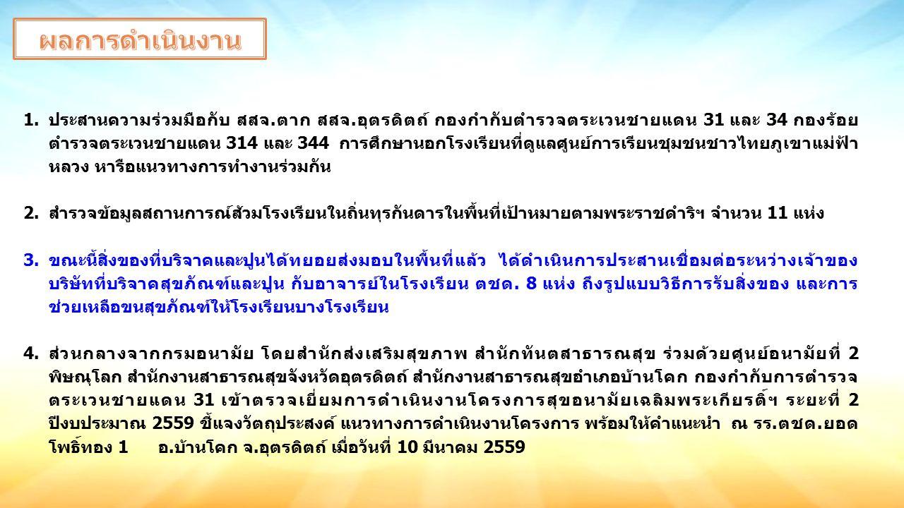1.ประสานความร่วมมือกับ สสจ.ตาก สสจ.อุตรดิตถ์ กองกำกับตำรวจตระเวนชายแดน 31 และ 34 กองร้อย ตำรวจตระเวนชายแดน 314 และ 344 การศึกษานอกโรงเรียนที่ดูแลศูนย์การเรียนชุมชนชาวไทยภูเขาแม่ฟ้า หลวง หารือแนวทางการทำงานร่วมกัน 2.สำรวจข้อมูลสถานการณ์ส้วมโรงเรียนในถิ่นทุรกันดารในพื้นที่เป้าหมายตามพระราชดำริฯ จำนวน 11 แห่ง 3.ขณะนี้สิ่งของที่บริจาคและปูนได้ทยอยส่งมอบในพื้นที่แล้ว ได้ดำเนินการประสานเชื่อมต่อระหว่างเจ้าของ บริษัทที่บริจาคสุขภัณฑ์และปูน กับอาจารย์ในโรงเรียน ตชด.