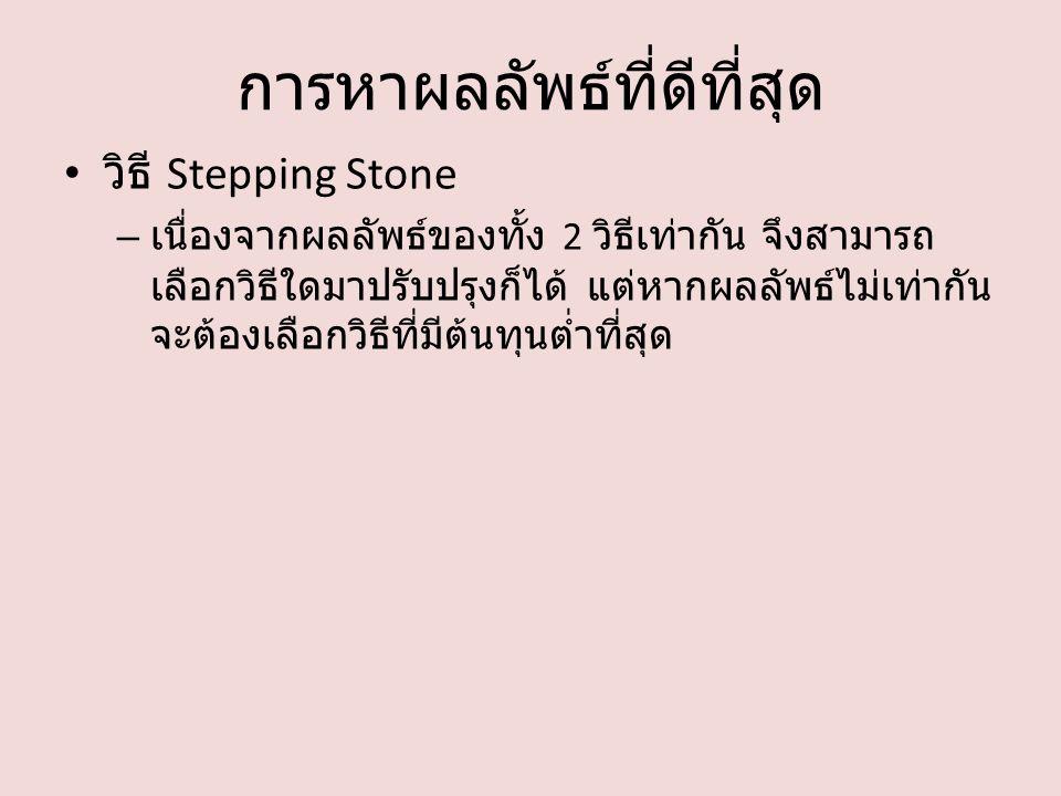 การหาผลลัพธ์ที่ดีที่สุด วิธี Stepping Stone – เนื่องจากผลลัพธ์ของทั้ง 2 วิธีเท่ากัน จึงสามารถ เลือกวิธีใดมาปรับปรุงก็ได้ แต่หากผลลัพธ์ไม่เท่ากัน จะต้องเลือกวิธีที่มีต้นทุนต่ำที่สุด