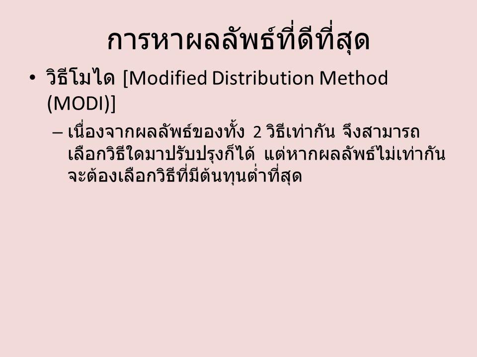 การหาผลลัพธ์ที่ดีที่สุด วิธีโมได [Modified Distribution Method (MODI)] – เนื่องจากผลลัพธ์ของทั้ง 2 วิธีเท่ากัน จึงสามารถ เลือกวิธีใดมาปรับปรุงก็ได้ แต่หากผลลัพธ์ไม่เท่ากัน จะต้องเลือกวิธีที่มีต้นทุนต่ำที่สุด