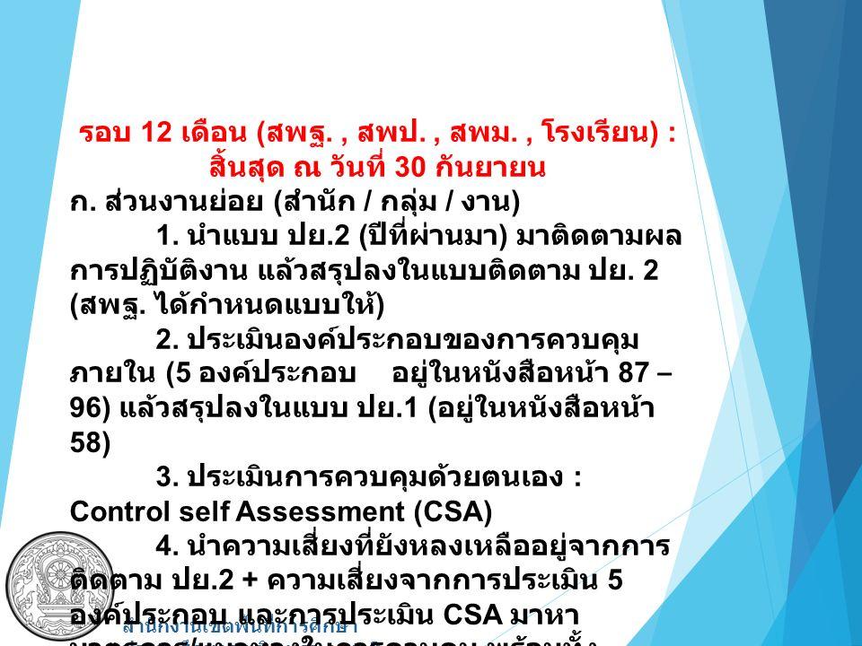 รอบ 12 เดือน ( สพฐ., สพป., สพม., โรงเรียน ) : สิ้นสุด ณ วันที่ 30 กันยายน ก. ส่วนงานย่อย ( สำนัก / กลุ่ม / งาน ) 1. นำแบบ ปย.2 ( ปีที่ผ่านมา ) มาติดตา