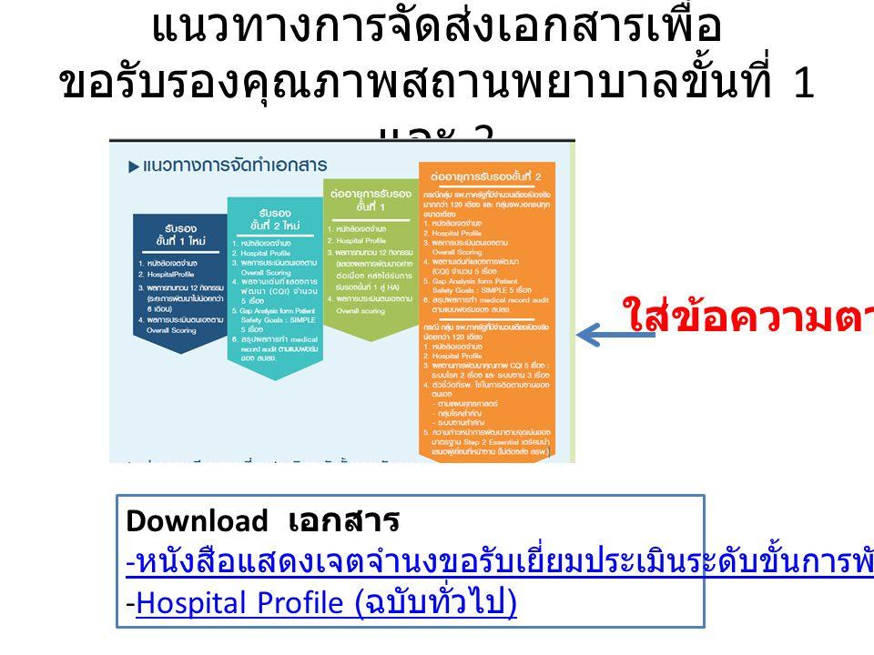 แนวทางการจัดส่งเอกสารเพื่อ ขอรับรองคุณภาพสถานพยาบาลขั้นที่ 1 และ 2 ใส่ข้อความตามนี้ Download เอกสาร - หนังสือแสดงเจตจำนงขอรับเยี่ยมประเมินระดับขั้นการพัฒนา -Hospital Profile ( ฉบับทั่วไป )Hospital Profile ( ฉบับทั่วไป )