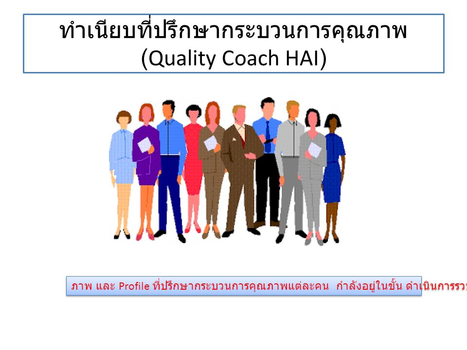 ทำเนียบที่ปรึกษากระบวนการคุณภาพ (Quality Coach HAI) ภาพ และ Profile ที่ปรึกษากระบวนการคุณภาพแต่ละคน กำลังอยู่ในขั้น ดำเนินการรวบรวม จะส่งให้อีกครั้ง