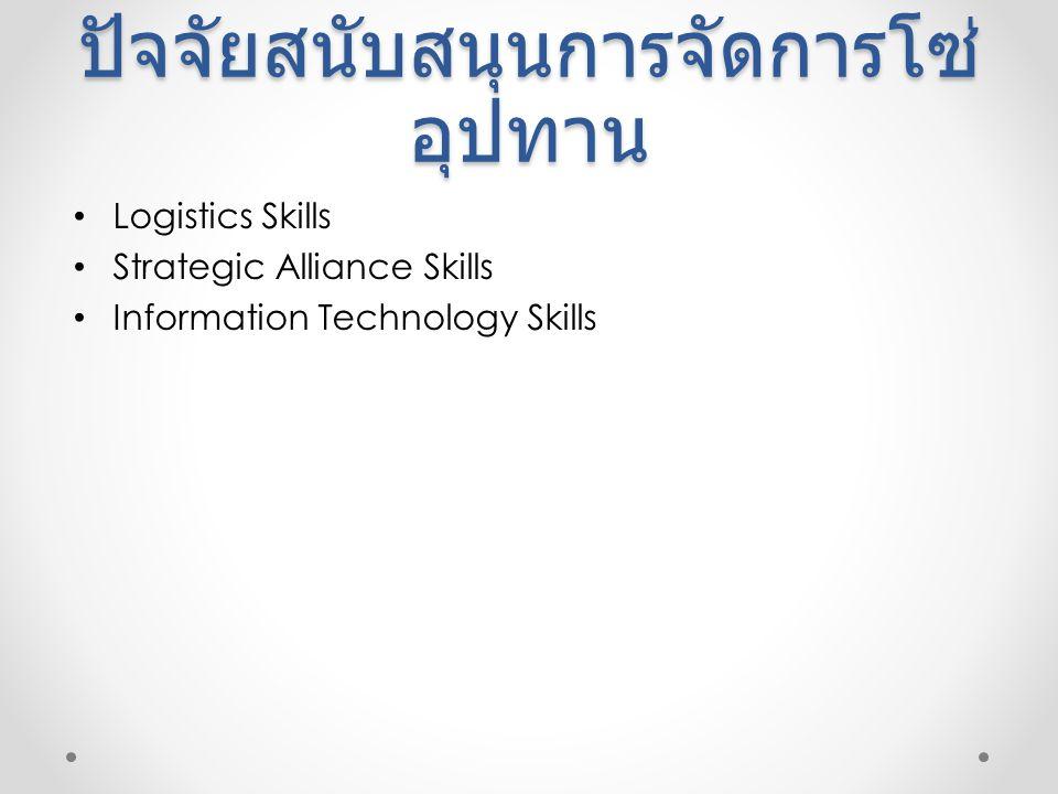 ปัจจัยสนับสนุนการจัดการโซ่ อุปทาน Logistics Skills Strategic Alliance Skills Information Technology Skills