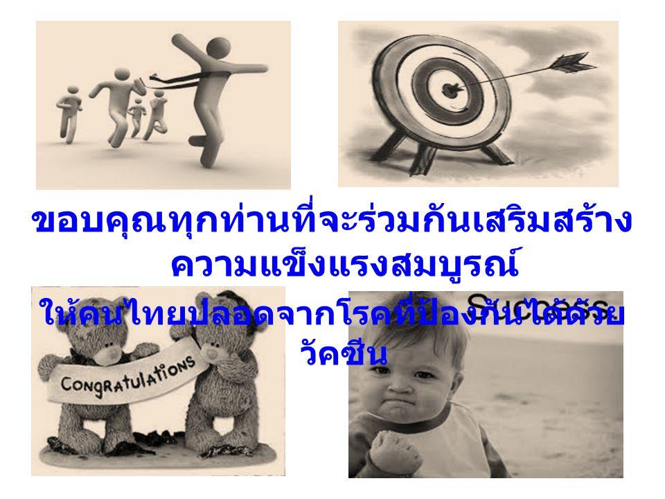 ขอบคุณทุกท่านที่จะร่วมกันเสริมสร้าง ความแข็งแรงสมบูรณ์ ให้คนไทยปลอดจากโรคที่ป้องกันได้ด้วย วัคซีน
