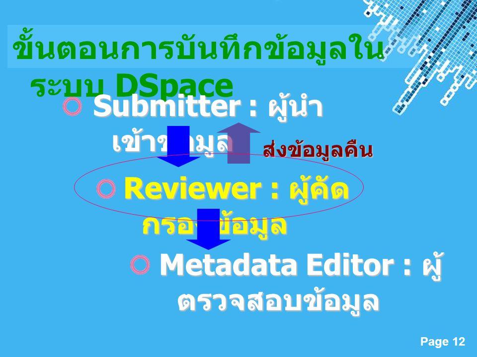 Powerpoint Templates Page 12 ขั้นตอนการบันทึกข้อมูลใน ระบบ DSpace Submitter : ผู้นำ เข้าข้อมูล Reviewer : ผู้คัด กรองข้อมูล Metadata Editor : ผู้ ตรวจสอบข้อมูล ส่งข้อมูลคืน