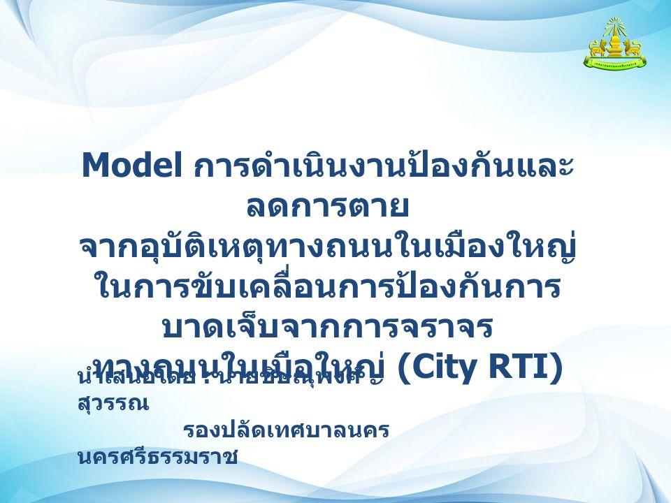 Model การดำเนินงานป้องกันและ ลดการตาย จากอุบัติเหตุทางถนนในเมืองใหญ่ ในการขับเคลื่อนการป้องกันการ บาดเจ็บจากการจราจร ทางถนนในเมือใหญ่ (City RTI) นำเสนอโดย : นายชิษณุพงศ์ สุวรรณ รองปลัดเทศบาลนคร นครศรีธรรมราช