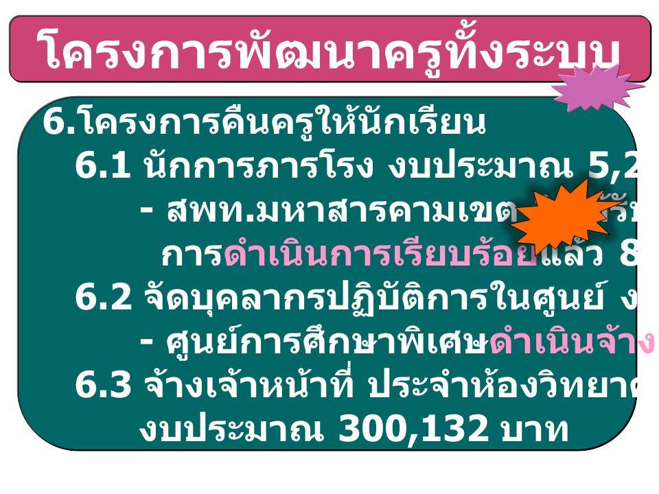 โครงการพัฒนาครูทั้งระบบ 6. โครงการคืนครูให้นักเรียน 6.1 นักการภารโรง งบประมาณ 5,248,656 บาท - สพท.