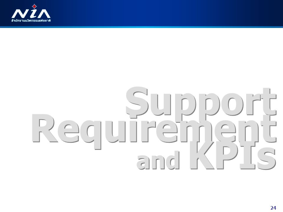 24 Support Requirement and KPIs Support Requirement and KPIs