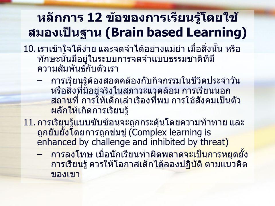 หลักการ 12 ข้อของการเรียนรู้โดยใช้ สมองเป็นฐาน (Brain based Learning) 10.เราเข้าใจได้ง่าย และจดจำได้อย่างแม่ยำ เมื่อสิ่งนั้น หรือ ทักษะนั้นมีอยู่ในระบบการจดจำแบบธรรมชาติที่มี ความสัมพันธ์กับตัวเรา –การเรียนรู้ต้องสอดคล้องกับกิจกรรมในชีวิตประจำวัน หรือสิ่งที่มีอยู่จริงในสภาวะแวดล้อม การเรียนนอก สถานที่ การให้เด็กเล่าเรื่องที่พบ การใช้สังคมเป็นตัว ผลักให้เกิดการเรียนรู้ 11.การเรียนรู้แบบซับซ้อนจะถูกกระตุ้นโดยความท้าทาย และ ถูกยับยั้งโดยการถูกข่มขู่ (Complex learning is enhanced by challenge and inhibited by threat) –การลงโทษ เมื่อนักเรียนทำผิดพลาดจะเป็นการหยุดยั้ง การเรียนรู้ ควรให้โอกาสเด็กได้ลองปฏิบัติ ตามแนวคิด ของเขา