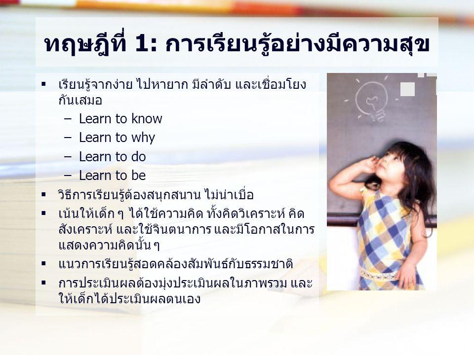 ทฤษฎีที่ 1: การเรียนรู้อย่างมีความสุข  เรียนรู้จากง่าย ไปหายาก มีลำดับ และเชื่อมโยง กันเสมอ –Learn to know –Learn to why –Learn to do –Learn to be  วิธีการเรียนรู้ต้องสนุกสนาน ไม่น่าเบื่อ  เน้นให้เด็ก ๆ ได้ใช้ความคิด ทั้งคิดวิเคราะห์ คิด สังเคราะห์ และใช้จินตนาการ และมีโอกาสในการ แสดงความคิดนั้น ๆ  แนวการเรียนรู้สอดคล้องสัมพันธ์กับธรรมชาติ  การประเมินผลต้องมุ่งประเมินผลในภาพรวม และ ให้เด็กได้ประเมินผลตนเอง
