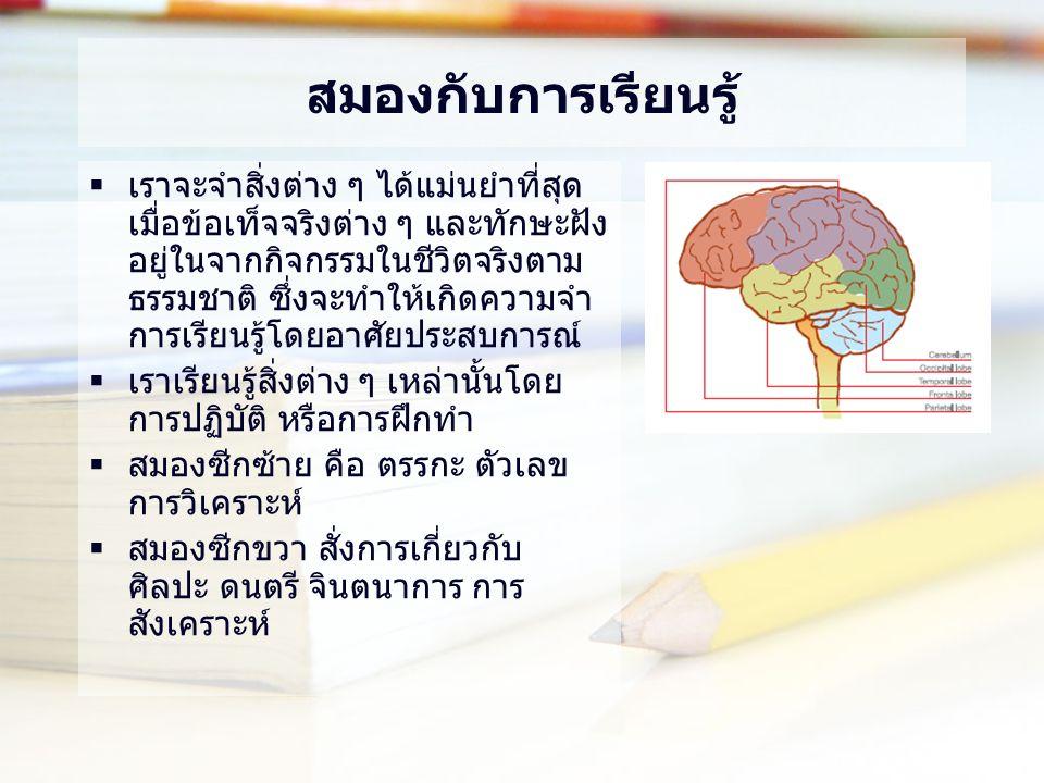 สมองกับการเรียนรู้  เราจะจำสิ่งต่าง ๆ ได้แม่นยำที่สุด เมื่อข้อเท็จจริงต่าง ๆ และทักษะฝัง อยู่ในจากกิจกรรมในชีวิตจริงตาม ธรรมชาติ ซึ่งจะทำให้เกิดความจำ การเรียนรู้โดยอาศัยประสบการณ์  เราเรียนรู้สิ่งต่าง ๆ เหล่านั้นโดย การปฏิบัติ หรือการฝึกทำ  สมองซีกซ้าย คือ ตรรกะ ตัวเลข การวิเคราะห์  สมองซีกขวา สั่งการเกี่ยวกับ ศิลปะ ดนตรี จินตนาการ การ สังเคราะห์
