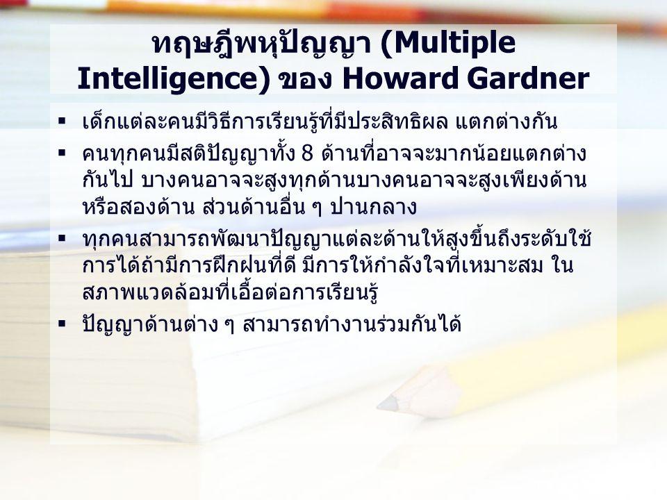 ทฤษฎีพหุปัญญา (Multiple Intelligence) ของ Howard Gardner  เด็กแต่ละคนมีวิธีการเรียนรู้ที่มีประสิทธิผล แตกต่างกัน  คนทุกคนมีสติปัญญาทั้ง 8 ด้านที่อาจจะมากน้อยแตกต่าง กันไป บางคนอาจจะสูงทุกด้านบางคนอาจจะสูงเพียงด้าน หรือสองด้าน ส่วนด้านอื่น ๆ ปานกลาง  ทุกคนสามารถพัฒนาปัญญาแต่ละด้านให้สูงขึ้นถึงระดับใช้ การได้ถ้ามีการฝึกฝนที่ดี มีการให้กำลังใจที่เหมาะสม ใน สภาพแวดล้อมที่เอื้อต่อการเรียนรู้  ปัญญาด้านต่าง ๆ สามารถทำงานร่วมกันได้