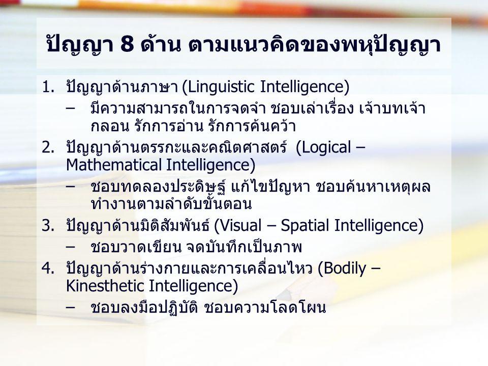 ปัญญา 8 ด้าน ตามแนวคิดของพหุปัญญา 1.ปัญญาด้านภาษา (Linguistic Intelligence) –มีความสามารถในการจดจำ ชอบเล่าเรื่อง เจ้าบทเจ้า กลอน รักการอ่าน รักการค้นคว้า 2.ปัญญาด้านตรรกะและคณิตศาสตร์ (Logical – Mathematical Intelligence) –ชอบทดลองประดิษฐ์ แก้ไขปัญหา ชอบค้นหาเหตุผล ทำงานตามลำดับขั้นตอน 3.ปัญญาด้านมิติสัมพันธ์ (Visual – Spatial Intelligence) –ชอบวาดเขียน จดบันทึกเป็นภาพ 4.ปัญญาด้านร่างกายและการเคลื่อนไหว (Bodily – Kinesthetic Intelligence) –ชอบลงมือปฏิบัติ ชอบความโลดโผน