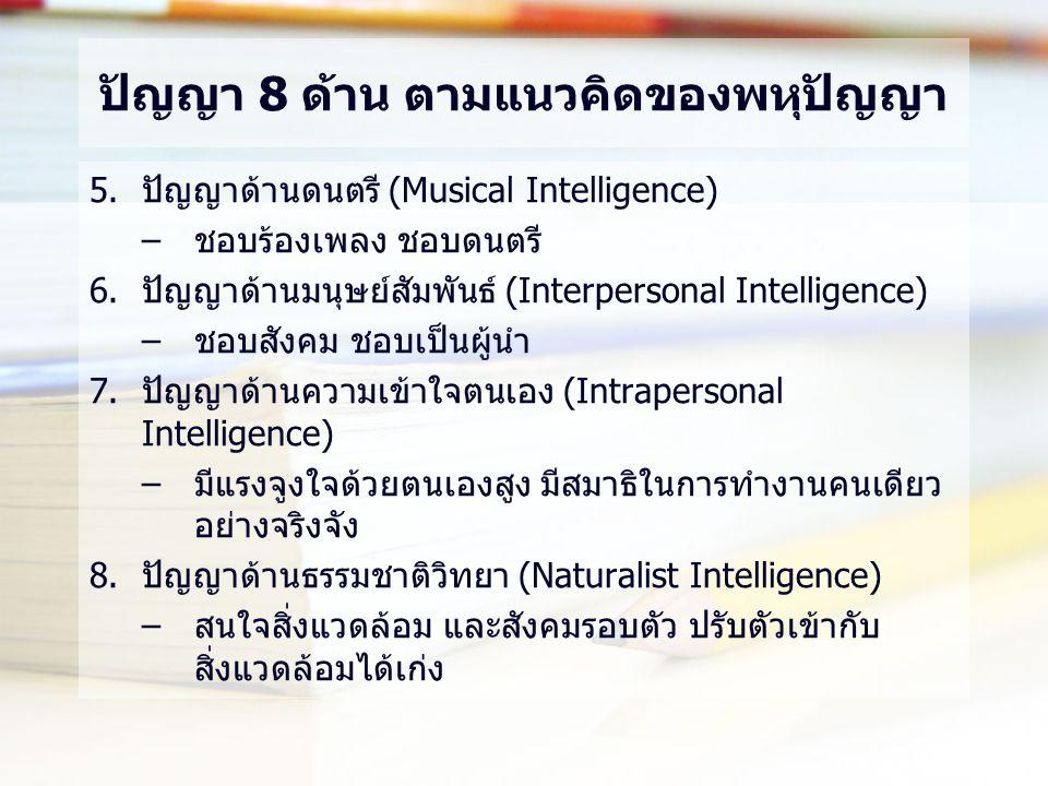 ปัญญา 8 ด้าน ตามแนวคิดของพหุปัญญา 5.ปัญญาด้านดนตรี (Musical Intelligence) –ชอบร้องเพลง ชอบดนตรี 6.ปัญญาด้านมนุษย์สัมพันธ์ (Interpersonal Intelligence) –ชอบสังคม ชอบเป็นผู้นำ 7.ปัญญาด้านความเข้าใจตนเอง (Intrapersonal Intelligence) –มีแรงจูงใจด้วยตนเองสูง มีสมาธิในการทำงานคนเดียว อย่างจริงจัง 8.ปัญญาด้านธรรมชาติวิทยา (Naturalist Intelligence) –สนใจสิ่งแวดล้อม และสังคมรอบตัว ปรับตัวเข้ากับ สิ่งแวดล้อมได้เก่ง