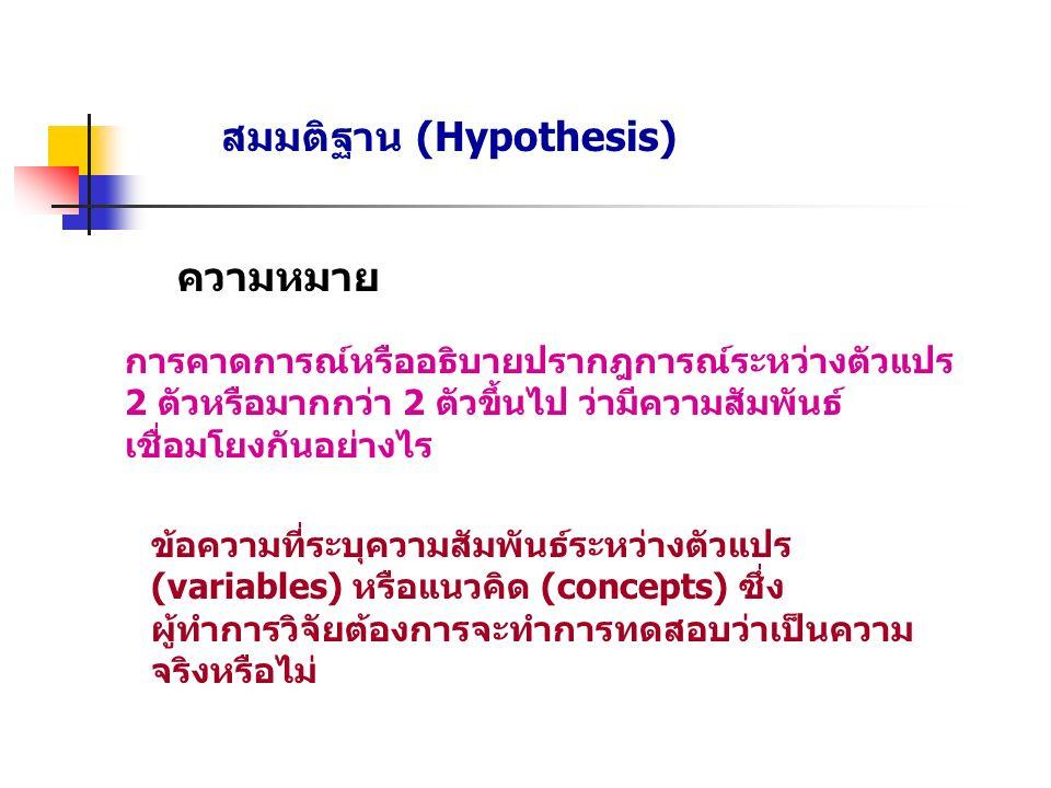 สมมติฐาน (Hypothesis) ความหมาย การคาดการณ์หรืออธิบายปรากฎการณ์ระหว่างตัวแปร 2 ตัวหรือมากกว่า 2 ตัวขึ้นไป ว่ามีความสัมพันธ์ เชื่อมโยงกันอย่างไร ข้อความที่ระบุความสัมพันธ์ระหว่างตัวแปร (variables) หรือแนวคิด (concepts) ซึ่ง ผู้ทำการวิจัยต้องการจะทำการทดสอบว่าเป็นความ จริงหรือไม่