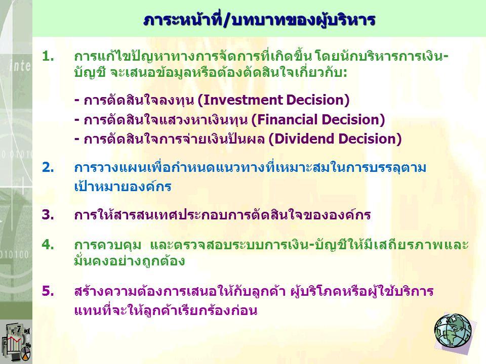 1.การแก้ไขปัญหาทางการจัดการที่เกิดขึ้น โดยนักบริหารการเงิน- บัญชี จะเสนอข้อมูลหรือต้องตัดสินใจเกี่ยวกับ: - การตัดสินใจลงทุน (Investment Decision) - การตัดสินใจแสวงหาเงินทุน (Financial Decision) - การตัดสินใจการจ่ายเงินปันผล (Dividend Decision) 2.การวางแผนเพื่อกำหนดแนวทางที่เหมาะสมในการบรรลุตาม เป้าหมายองค์กร 3.การให้สารสนเทศประกอบการตัดสินใจขององค์กร 4.การควบคุม และตรวจสอบระบบการเงิน-บัญชีให้มีเสถียรภาพและ มั่นคงอย่างถูกต้อง 5.สร้างความต้องการเสนอให้กับลูกค้า ผู้บริโภคหรือผู้ใช้บริการ แทนที่จะให้ลูกค้าเรียกร้องก่อน ภาระหน้าที่/บทบาทของผู้บริหาร