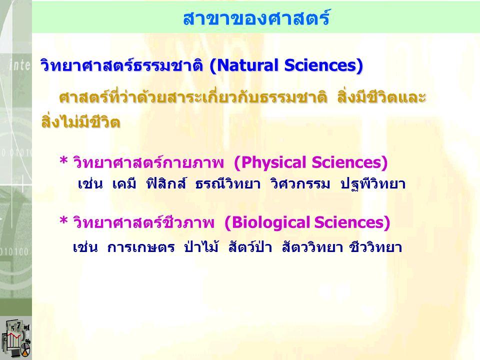 สาขาของศาสตร์ วิทยาศาสตร์ธรรมชาติ (Natural Sciences) ศาสตร์ที่ว่าด้วยสาระเกี่ยวกับธรรมชาติ สิ่งมีชีวิตและ สิ่งไม่มีชีวิต * วิทยาศาสตร์กายภาพ (Physical Sciences) เช่น เคมี ฟิสิกส์ ธรณีวิทยา วิศวกรรม ปฐพีวิทยา * วิทยาศาสตร์ชีวภาพ (Biological Sciences) เช่น การเกษตร ป่าไม้ สัตว์ป่า สัตววิทยา ชีววิทยา