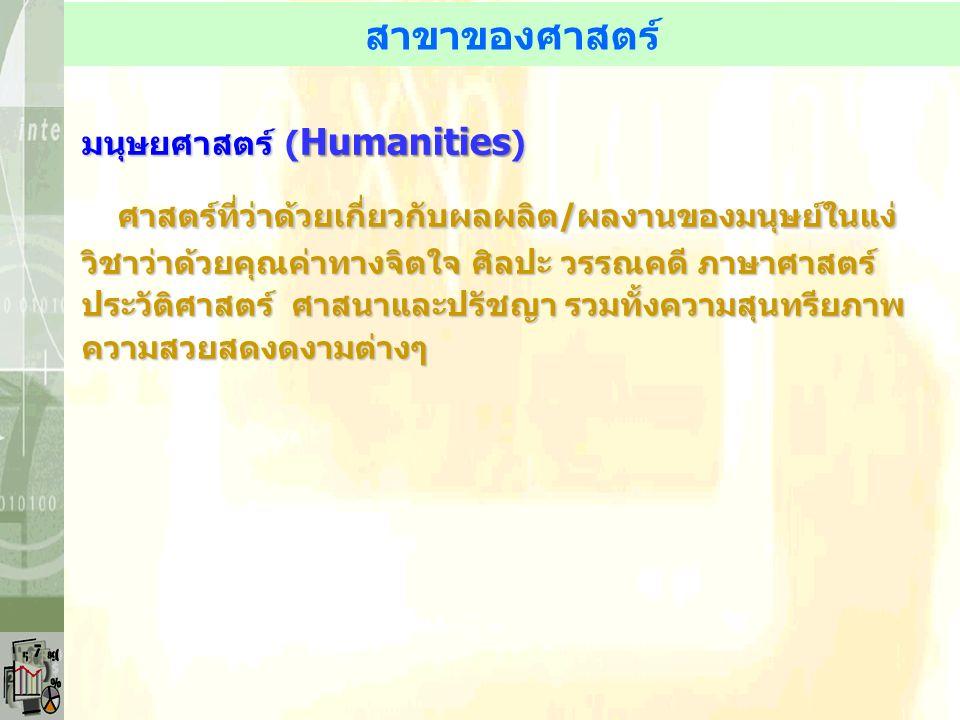 สาขาของศาสตร์ มนุษยศาสตร์ ( Humanities ) ศาสตร์ที่ว่าด้วยเกี่ยวกับผลผลิต/ผลงานของมนุษย์ในแง่ วิชาว่าด้วยคุณค่าทางจิตใจ ศิลปะ วรรณคดี ภาษาศาสตร์ ประวัต