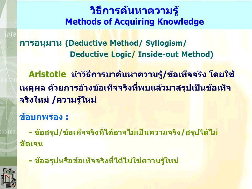 วิธีการค้นหาความรู้ Methods of Acquiring Knowledge การอนุมาน (Deductive Method/ Syllogism/ Deductive Logic/ Inside-out Method) Aristotle นำวิธีการมาค้นหาความรู้/ข้อเท็จจริง โดยใช้ เหตุผล ด้วยการอ้างข้อเท็จจริงที่พบแล้วมาสรุปเป็นข้อเท็จ จริงใหม่ /ความรู้ใหม่ ข้อบกพร่อง : - ข้อสรุป/ข้อเท็จจริงที่ได้อาจไม่เป็นความจริง/สรุปได้ไม่ ชัดเจน - ข้อสรุปหรือข้อเท็จจริงที่ได้ไม่ใช่ความรู้ใหม่