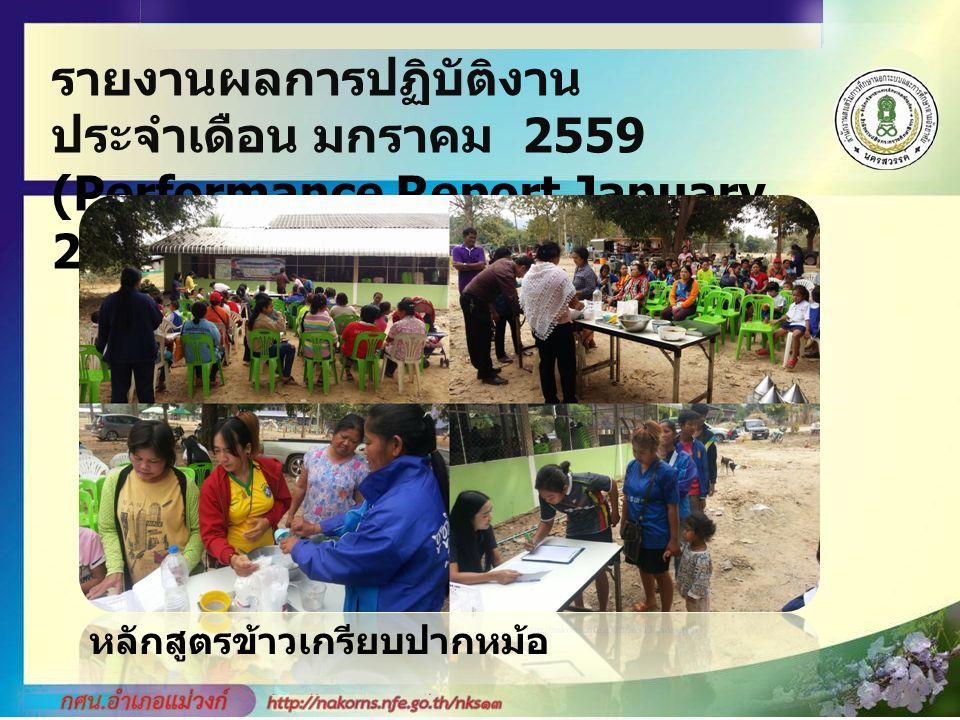รายงานผลการปฏิบัติงาน ประจำเดือน มกราคม 2559 (Performance Report January 2559 Monthly) หลักสูตรข้าวเกรียบปากหม้อ