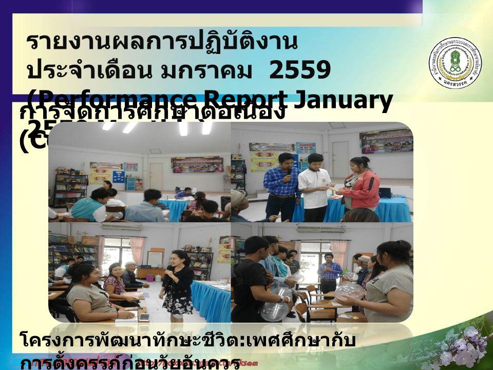 รายงานผลการปฏิบัติงาน ประจำเดือน มกราคม 2559 (Performance Report January 2559 Monthly) การจัดการศึกษาต่อเนื่อง (Continuing Education) โครงการจัดกระบวนการเรียนรู้ตามหลักปรัชญาของ เศรษฐกิจพอพียง งบประมาณ ได้รับจัดสรรคงเหลือ 12,800.00 บาท เบิกจ่าย 12,800.00 บาท คงเหลือ 0 บาท โครงการการจัดกระบวนการเรียนรู้ตามหลักปรัชญาเศรษฐกิจพอเพียง ( หลักสูตรเกษตรผสมผสาน ) โดย กศน.