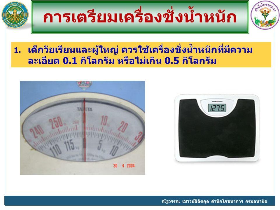 การเตรียมเครื่องชั่งน้ำหนัก 1. เด็กวัยเรียนและผู้ใหญ่ ควรใช้เครื่องชั่งน้ำหนักที่มีความ ละเอียด 0.1 กิโลกรัม หรือไม่เกิน 0.5 กิโลกรัม ณัฐวรรณ เชาวน์ลิ