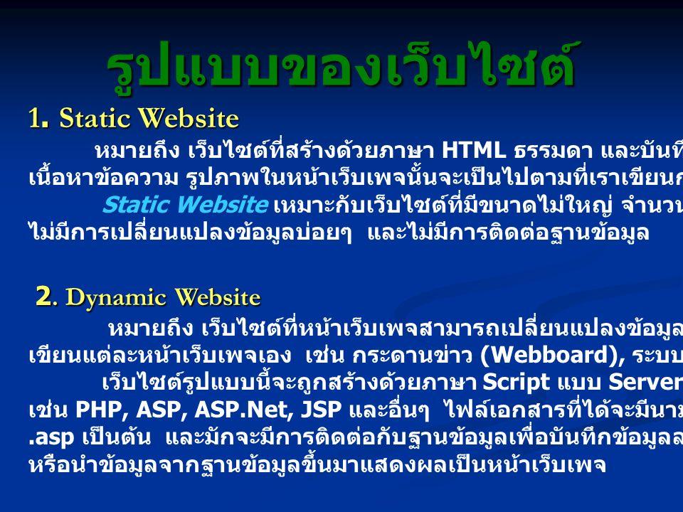 รูปแบบของเว็บไซต์ 1. Static Website หมายถึง เว็บไซต์ที่สร้างด้วยภาษา HTML ธรรมดา และบันทึกเป็นไฟล์นามสกุล.html เนื้อหาข้อความ รูปภาพในหน้าเว็บเพจนั้นจ