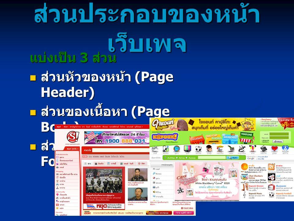 ส่วนประกอบของหน้า เว็บเพจ แบ่งเป็น 3 ส่วน ส่วนหัวของหน้า (Page Header) ส่วนหัวของหน้า (Page Header) ส่วนของเนื้อหา (Page Body) ส่วนของเนื้อหา (Page Bo